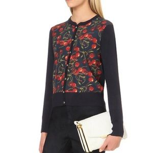 TED BAKER Perl Cherry Print Cardigan Navy Blue